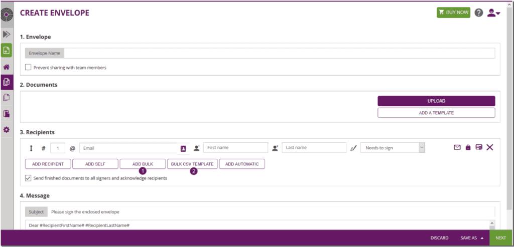 Add a bulk as recipient, Create a bulk CSV for upload