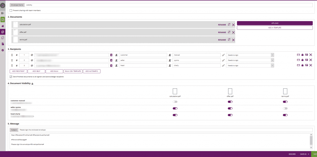document visibility settings