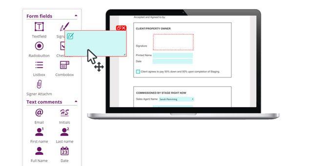 Feature, Document Designer, set form field for signature