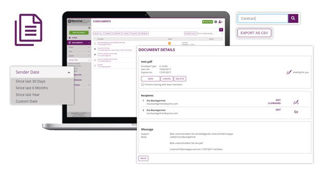 Feature, Manage Documents, Export as CSV